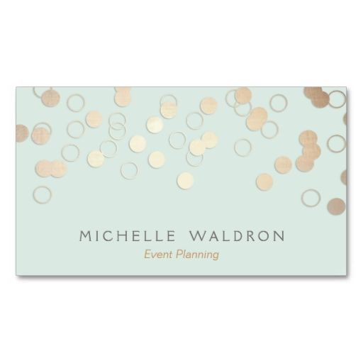Fun Festive Gold Confetti Event Planner Light Aqua Business Cards