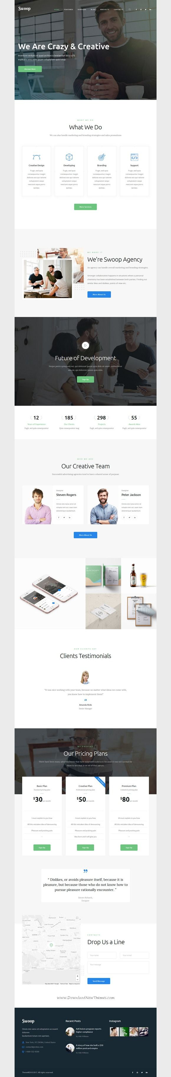 Swoop is clean and modern design 3in1 responsive #WordPress theme for #webstudio and creative #business website download now..