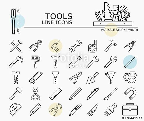"Download the royalty-free vector ""Tools line icons with minimal nodes and editable stroke width and style"" designed by dropix at the lowest price on Fotolia.com. Browse our cheap image bank online to find the perfect stock vector for your marketing projects!"