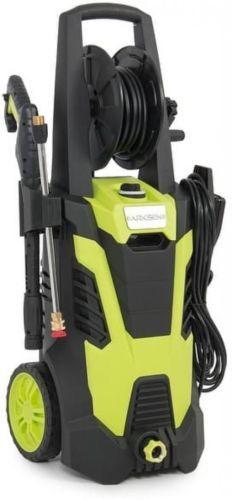 Electric High Pressure Washer Hose Reel Lightweight Wheel Green 5 Nozzle Adapter #HighPressure #ElectricWasher #FloorCleaner #Patio #Lightweight #HoseReel
