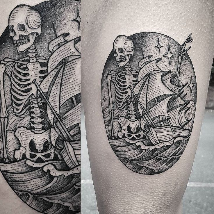 Skeleton Ship by @cuttybage at Ghost Monkey Tattoo in Boone, North Carolina. Based off of artwork by @sineateruk. #skeleton #ship #cuttybage #ghostmonkeytattoo #boone #northcarolina #tattoo #tattoos #tattoosnob http://ift.tt/2ulP8DW