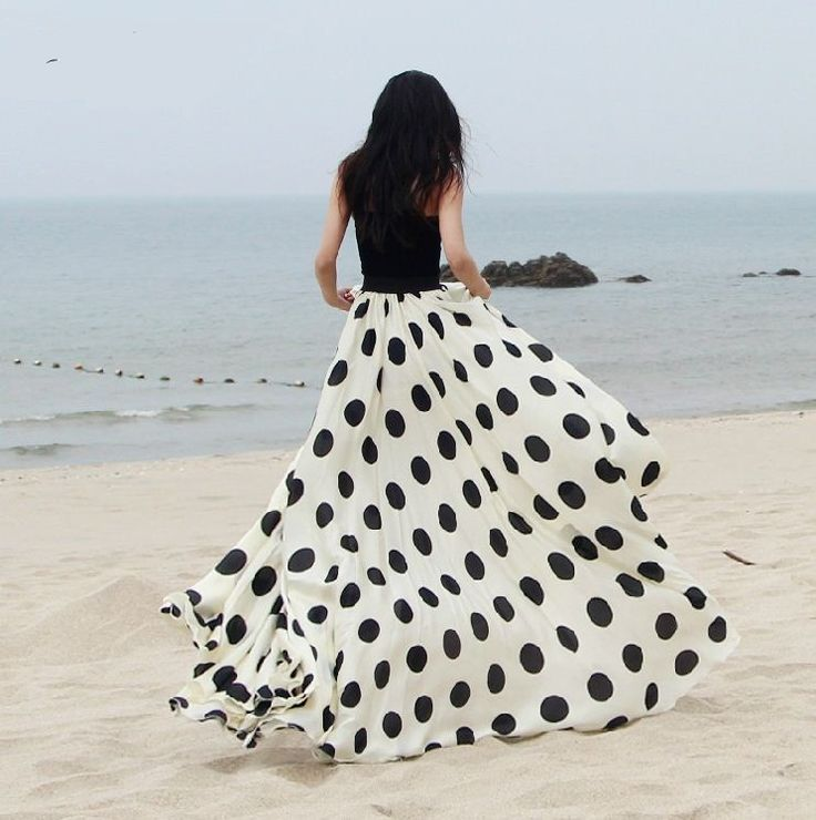 New 2014 spring summer women fashion polka dot print floor-length chiffon long skirt plus size maxi 8 meters skirts female brand