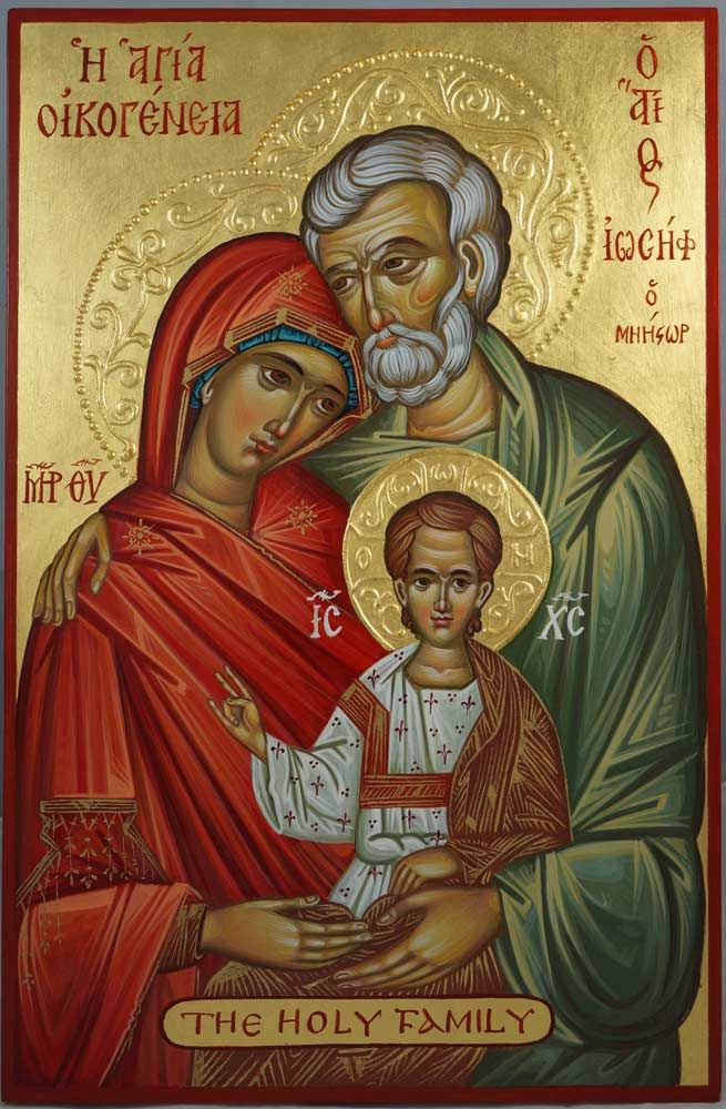 The Holy Family Hand-Painted Byzantine Icon