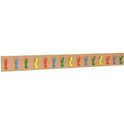 Straight Wooden Coat Rail with 15 multicoloured hooks