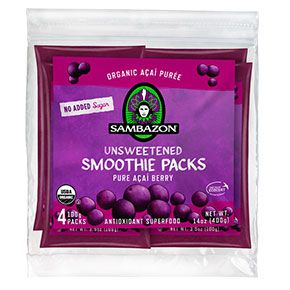 """""""Sambazon Acai Smoothie Packs can be blended with other ingredients for nutritious smoothies or thrown, frozen, in a daypack for a boost on the trail""""    Spring Essential Awards 2014 Essentials Awards by Taste For Life"""