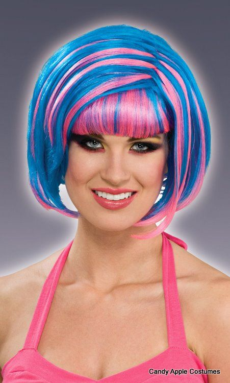 Blue/Pink Candy Swirl Wig - Candy Apple Costumes - Rainbow Costumes