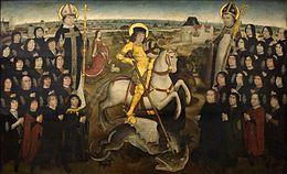 De leden van het gilde van de Grote Kruisboog te Mechelen (ca. 1500) door de Meester van het Mechelse Sint-Jorisgilde in het Koninklijk Museum voor Schone Kunsten Antwerpen