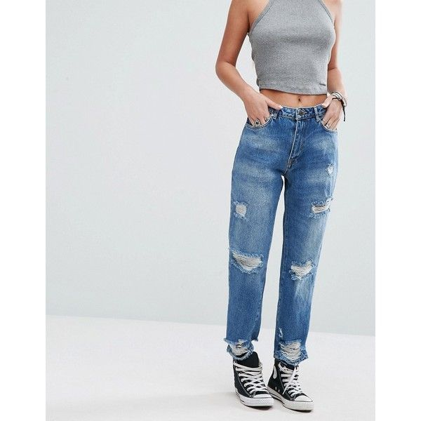 Pull&Bear Ripped Mom Jeans (135 ILS) ❤ liked on Polyvore featuring jeans, blue, distressed jeans, destroyed jeans, destructed jeans, high waisted jeans and slim jeans