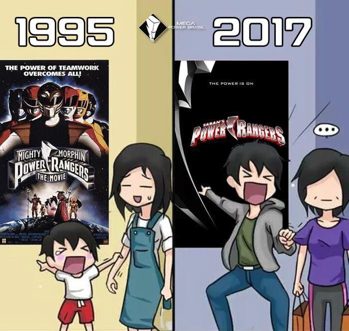 1995 VS 2017 #PowerRangersMovie - Power Rangers Movie - 2017