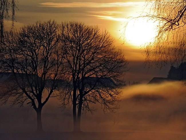 Fog lies over snow as sun goes down near Eisenharz, center Germany. Picture: AFP