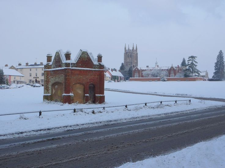 Long Melford Village green and Church