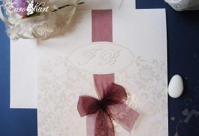 partecipazioni di nozze  con iniziali fiori  e nastro organza