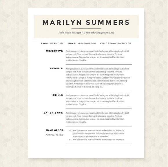 cool classic resume template package
