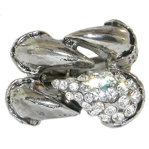 Adjustable Claw Ring with Rhinestones, In Silver Tone . $12.99. Save 68%!