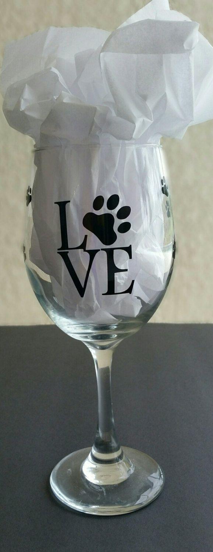 Wine Glass Dog Love paw print wine glass by SandyToeshomedecor on Etsy