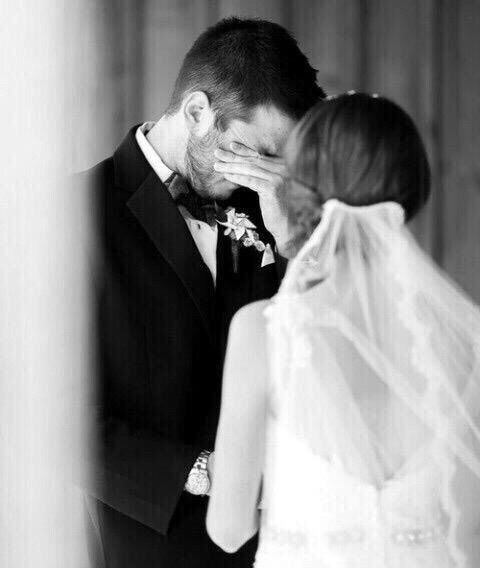 Aw, when the groom cries too. The. Best. Black + white wedding photograph.