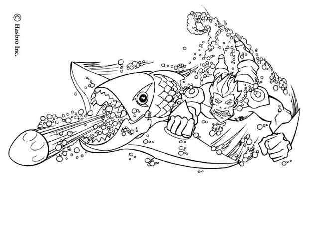 Action Man With Fish Weapon Coloring Pages From Hellokids Color Your Hero Online The