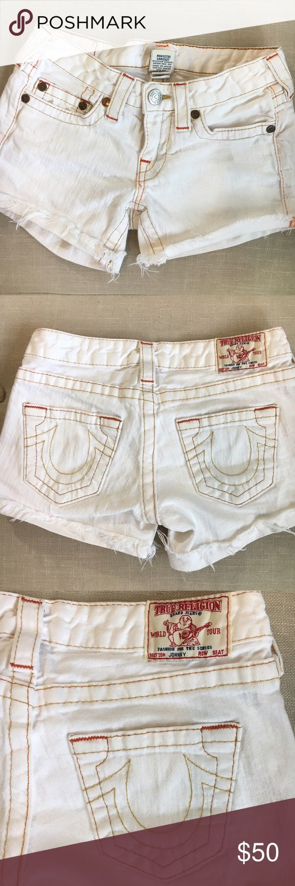 🆕 List True Religion Johnny Cutoff Shorts size 26 These True Religion Johnny Cutoff Shorts size 26 are white with Cutoff frayed hem line and 5 pockets. These shorts are super sexy and hot for summer! In excellent preloved condition! 99% cotton and 1% elastic. They have a very cool orange and tan thread accent which gives them a very crisp and vibrant look! Offers welcome! True Religion Shorts Jean Shorts