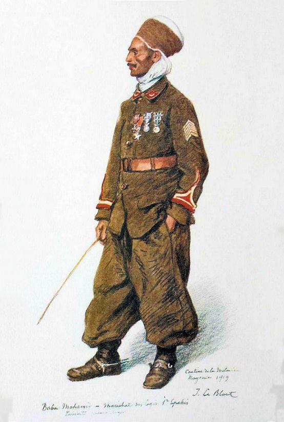 Les troupes coloniales en Rhénanie |  BABA Mohamed, Maréchal des logis, 1er régiment de spahis, Cantine de la Malmaison, Mayence, 1919