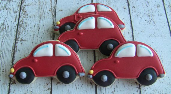 One Dozen Car Decorated Sugar Cookies by DolceDesserts on Etsy, $30.00
