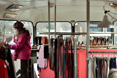 How cool is this!    Inside of the Double Decker Vintage Dress shop:)