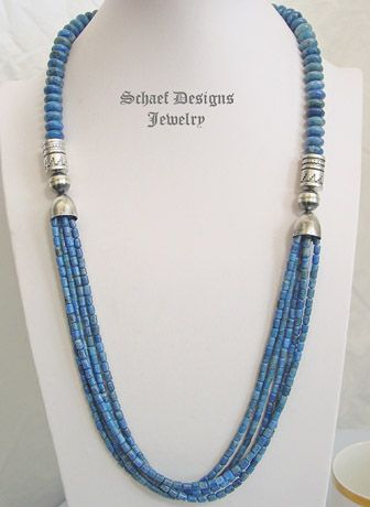 schaef designs denim lapis and sterling silver tube bead multi strand long necklace schaef designs