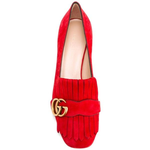 Gucci GG vamp fringe loafers (32.220 RUB) ❤ liked on Polyvore featuring shoes, loafers, leather slip-on shoes, chunky loafers, red shoes, red loafers and slip-on shoes