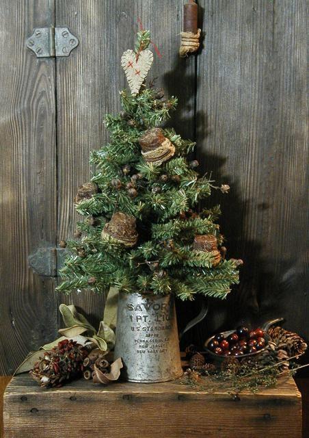 Christmas Tree and Authentic Primitive Sugar Cone Ornaments Unique