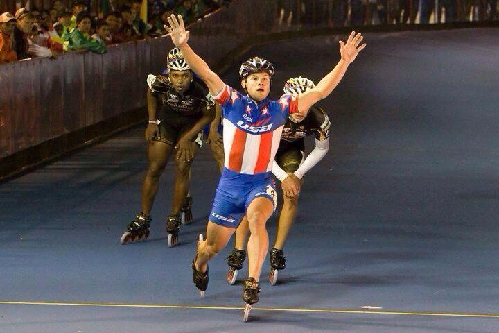 Joey Mantia, inline speed skate.