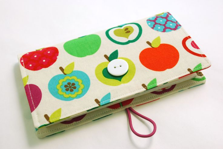 Modern Apples - Checkbook Cover, Fruit with closure, Receipt Coupon Wallet, OPTIONAL Vinyl Duplicate Check Divider by KerriCreates on Etsy