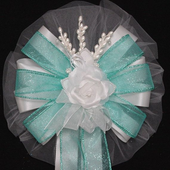 White Rose Floral Aqua Sparkle Wedding Bows by PackagePerfectBows, $7.99
