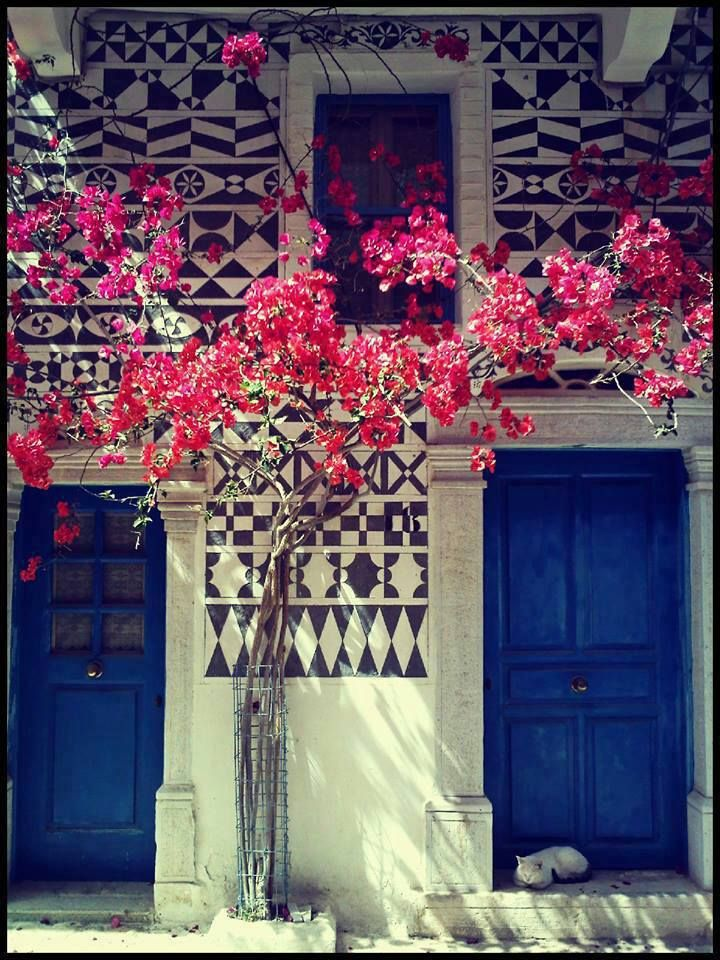 Greece: royal blue doors w/ geometric tiles surrounding