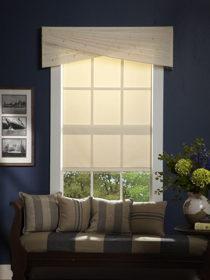 Sheer decorative cornices look simply elegant against navy for Elegant window