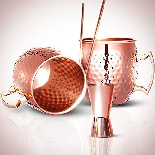 spirit valley moscow mule copper mugs and straws with bonus jigger pure solid copper cups - Moscow Mule Copper Mug