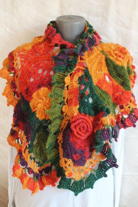 Autumn Boho Chic Multicolor Freeform Crochet Scarf Shawl Cape