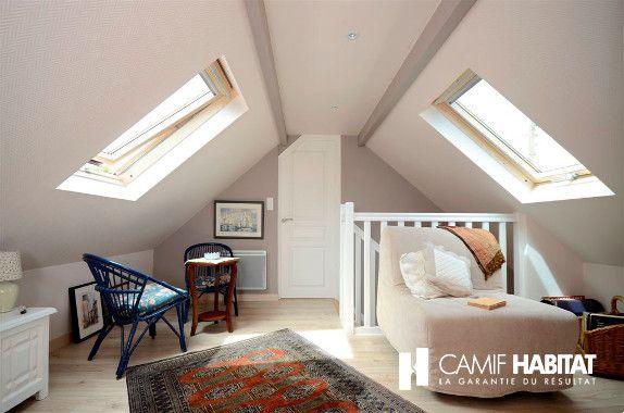 Aménagement de combles. http://www.camif-habitat.fr/projet-immobilier/travaux-amenagement-comble-grenier.php