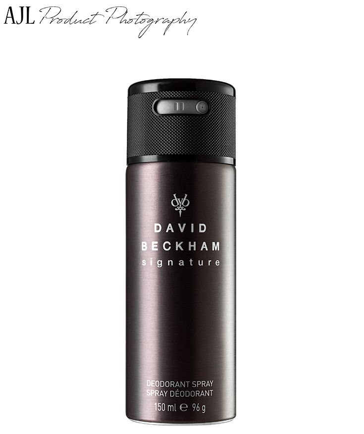 Image of David Beckham Signature Deodorant Spray by Leonie at AJL Product Photography.
