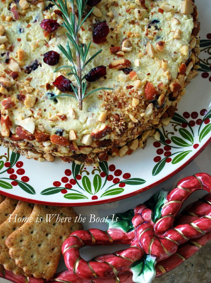 Make ahead molded and festive chicken salad appetizer for Christmas entertaining, Home is Where the Boat Is