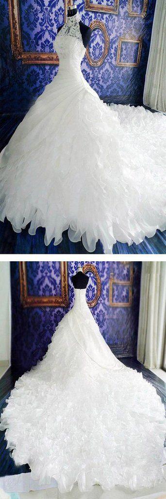 Vestidos de festa de casamento chiffon de design exclusivo de renda branca de gola alta, Brid – …   – Schöne Brautkleider