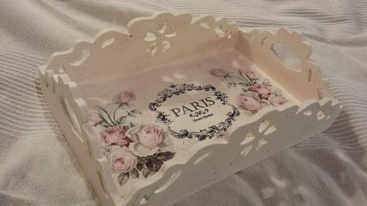 Decorative tray made of MDF. Dimensions 30cm x 19.5cm x 8.5cm