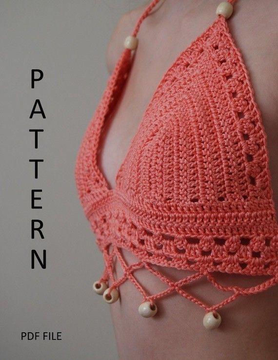 Diseñé el patrón para la parte superior del bikini de ganchillo.  Funciona mejor para copas A, B y C. Los materiales incluyen hilados de algodón y