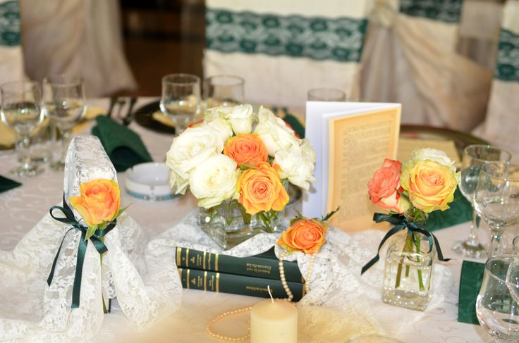 Vintage book-themed centerpiece