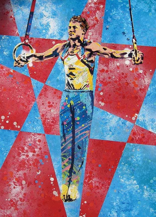 Famous street artist Goldie has painted some of the British Olympic hopefuls, including Daniel Keatings: 2010 European champion gymnast.