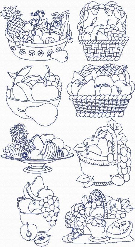Advanced Embroidery Designs - Redwork Fruit Basket Set