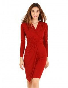 Wrap front bodycon dress - Red