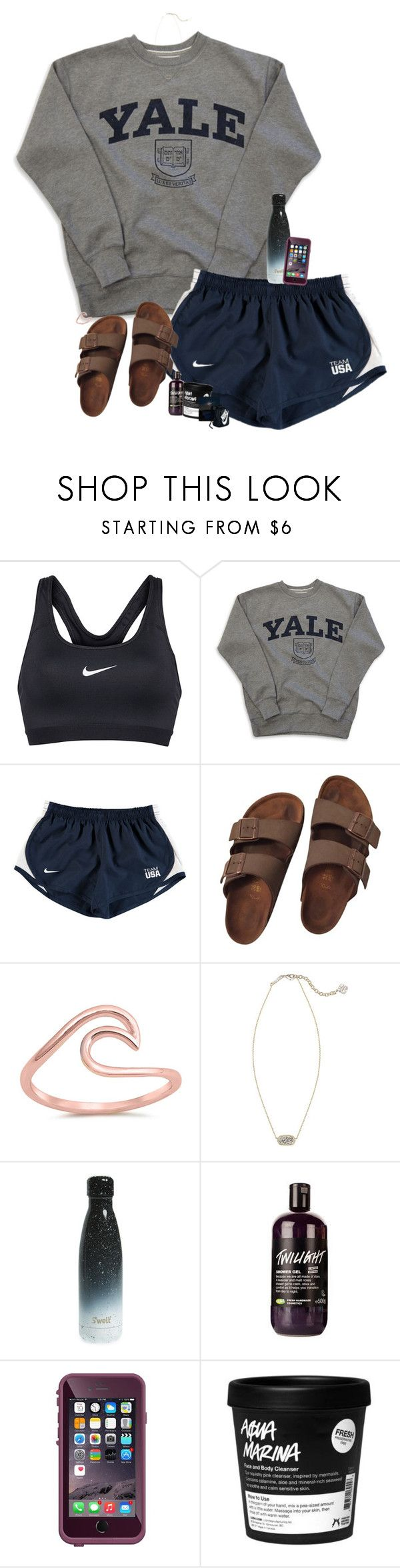 """Total eclipse today "" by halledaniella ❤ liked on Polyvore featuring NIKE, Birkenstock, Kendra Scott and S'well"