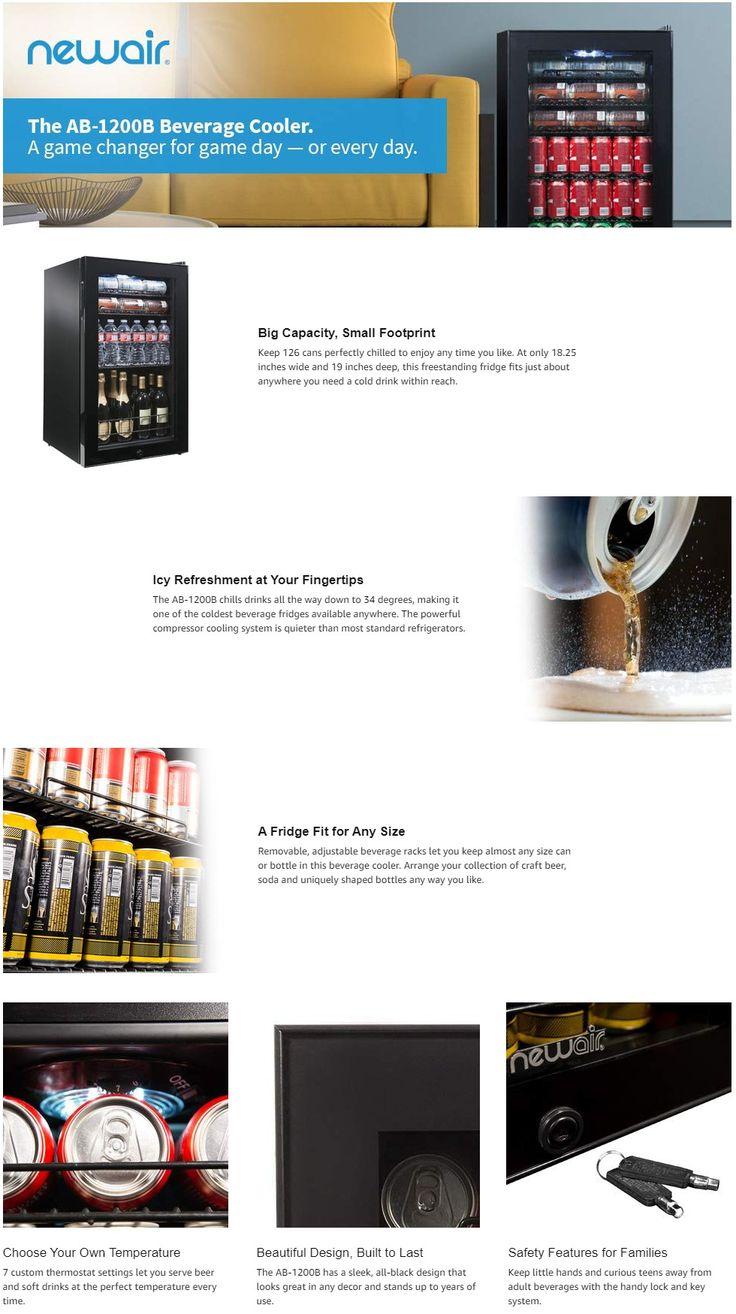NewAir 19 in. 126 (12 oz.) Can Freestanding Beverage