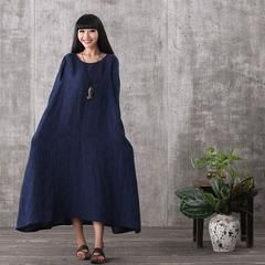 Women long sleeve vintage blue loose printing cotton linen plus size dresses with pockets