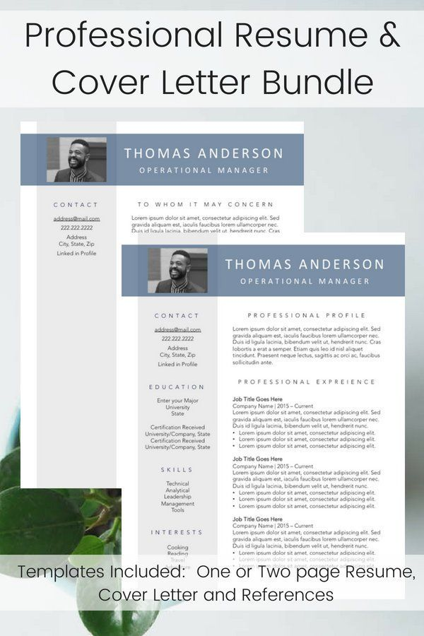 Custom Executive Photo Resume Template Bundle Digital Download For