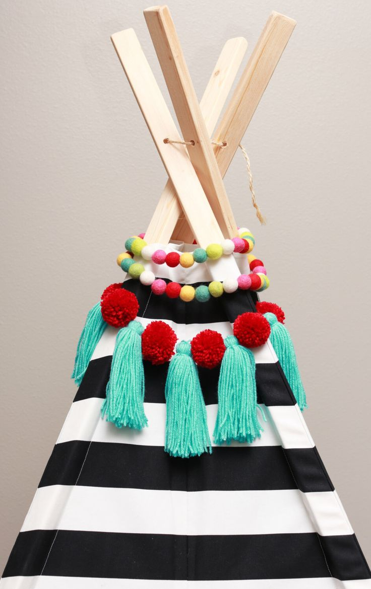 TeePee Topper >> Tassel + PomPoms >> CUSTOMS WELCOME! by TheSummerDays on Etsy https://www.etsy.com/listing/269438269/teepee-topper-tassel-pompoms-customs